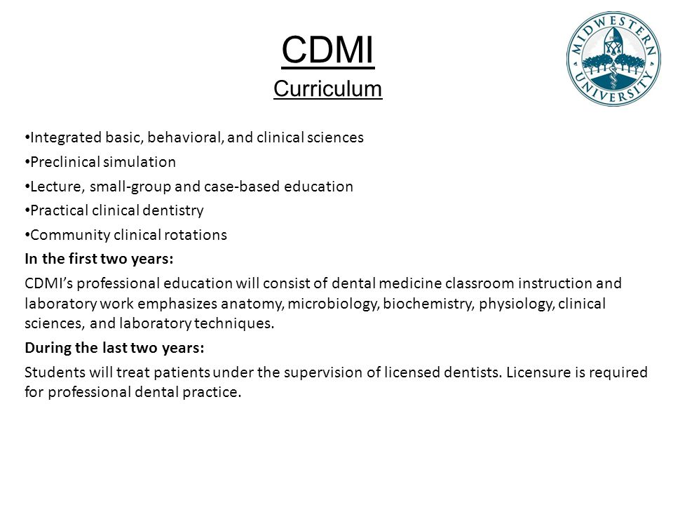 CDMI Curriculum Integrated basic, behavioral, and clinical sciences
