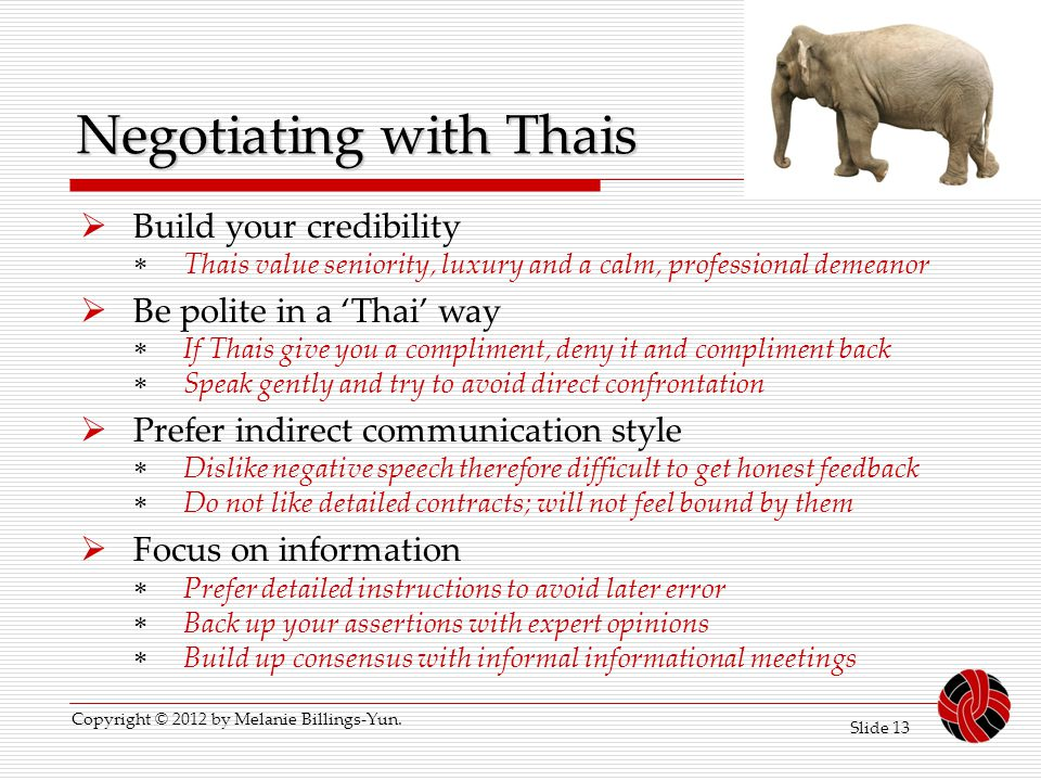 Negotiating with Thais