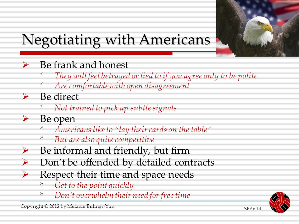 Negotiating with Americans