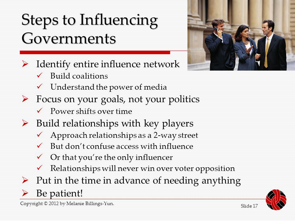Steps to Influencing Governments