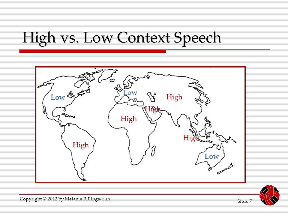 High vs. Low Context Speech