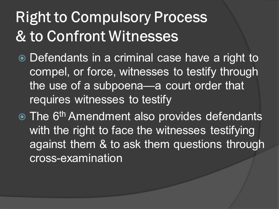 Right to Compulsory Process & to Confront Witnesses