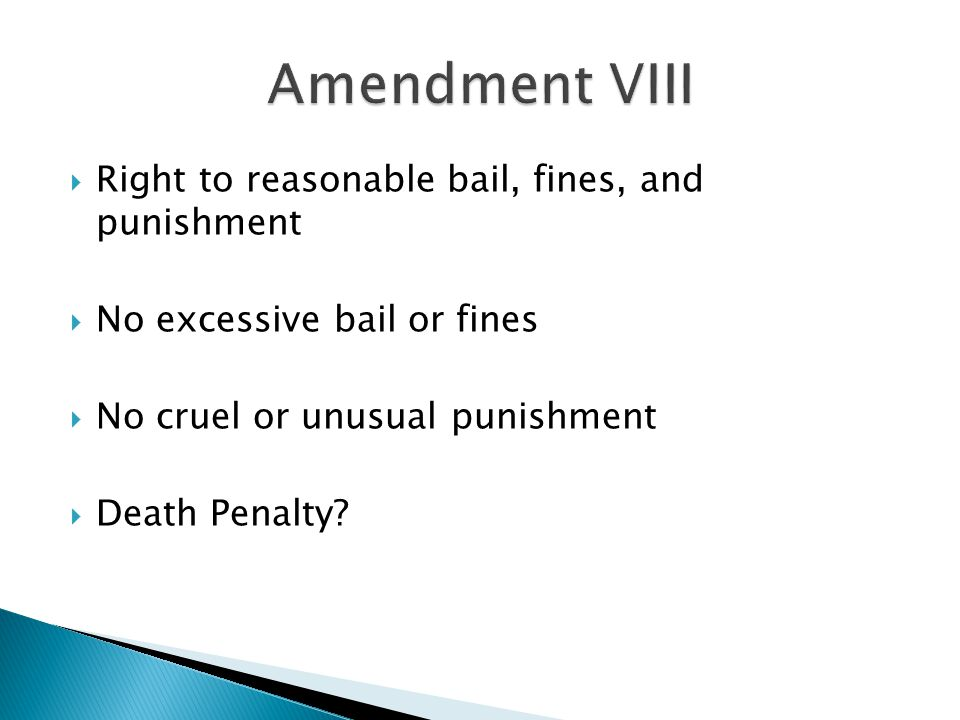 Amendment VIII Right to reasonable bail, fines, and punishment