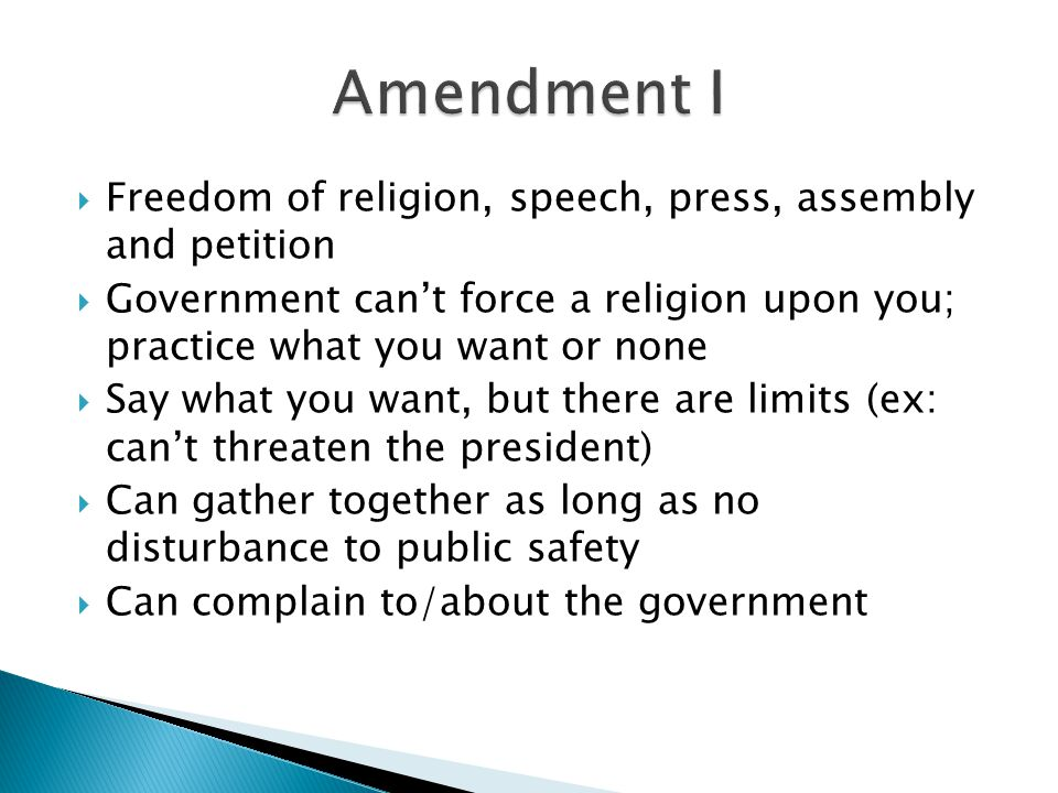 Amendment I Freedom of religion, speech, press, assembly and petition