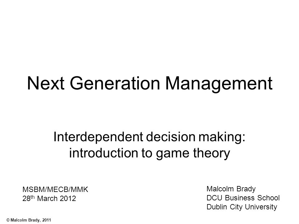 Next Generation Management