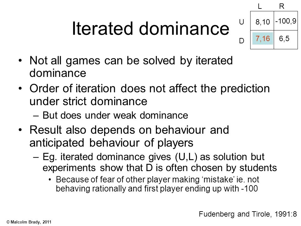 Iterated dominance Not all games can be solved by iterated dominance