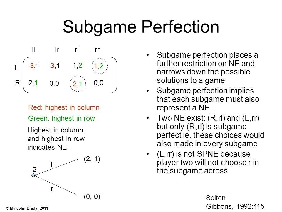 Subgame Perfection ll. lr. rl. rr. Subgame perfection places a further restriction on NE and narrows down the possible solutions to a game.