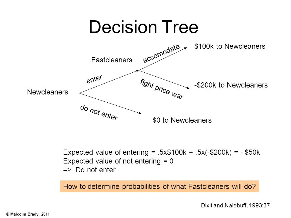 Decision Tree $100k to Newcleaners accomodate Fastcleaners enter
