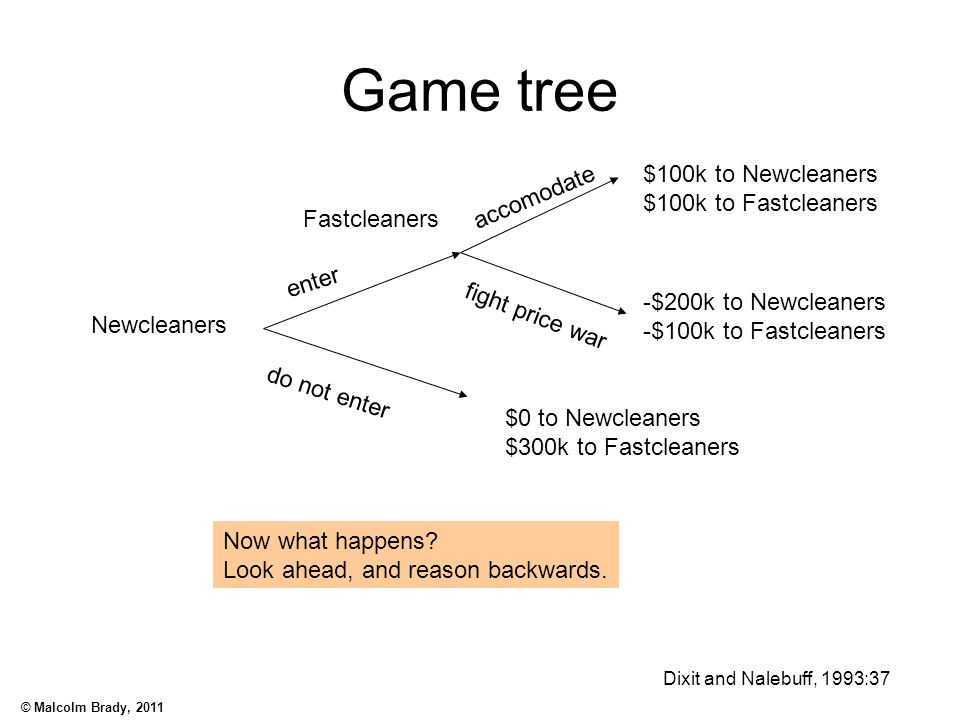 Game tree $100k to Newcleaners accomodate $100k to Fastcleaners