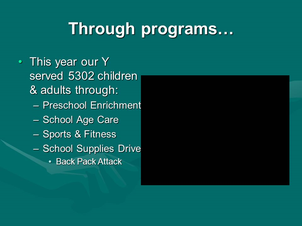Through programs… This year our Y served 5302 children & adults through: Preschool Enrichment. School Age Care.