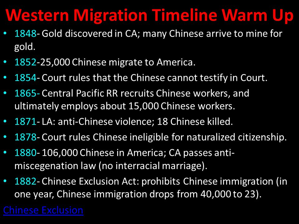 Western Migration Timeline Warm Up