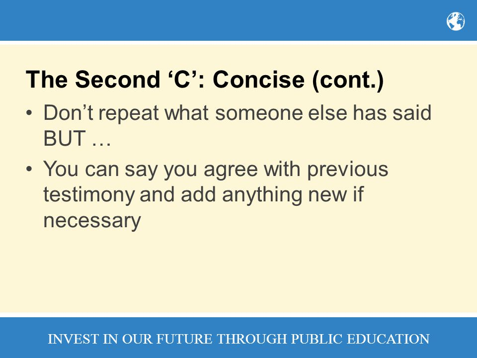 The Second 'C': Concise (cont.)