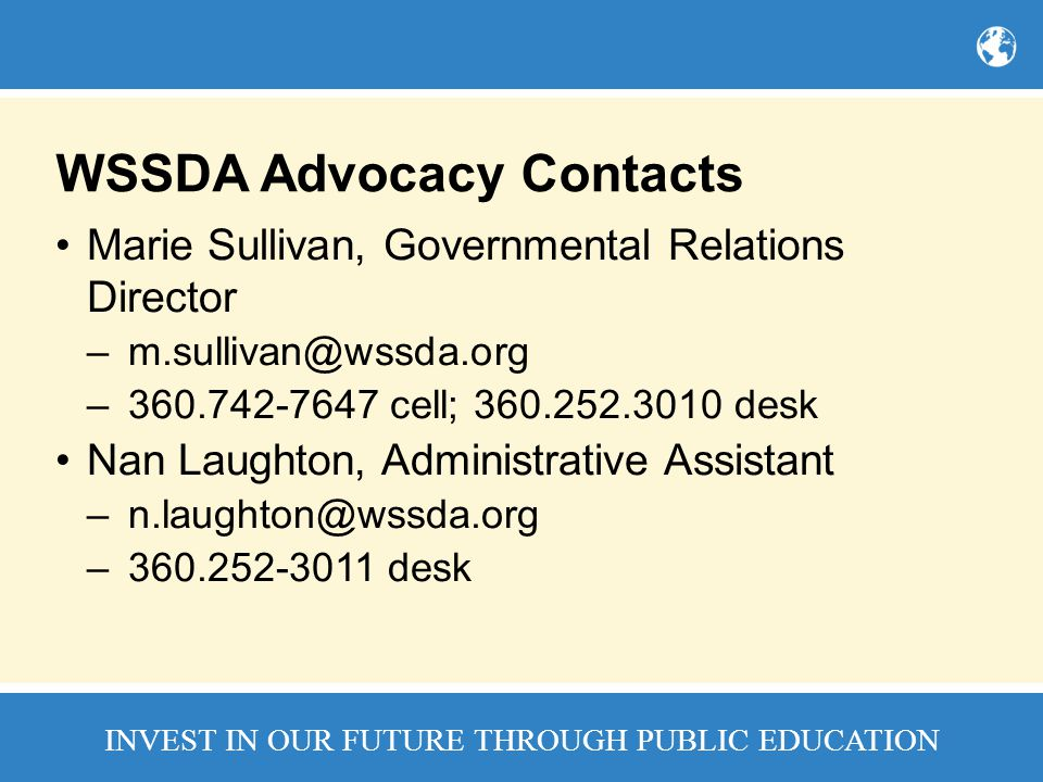 WSSDA Advocacy Contacts