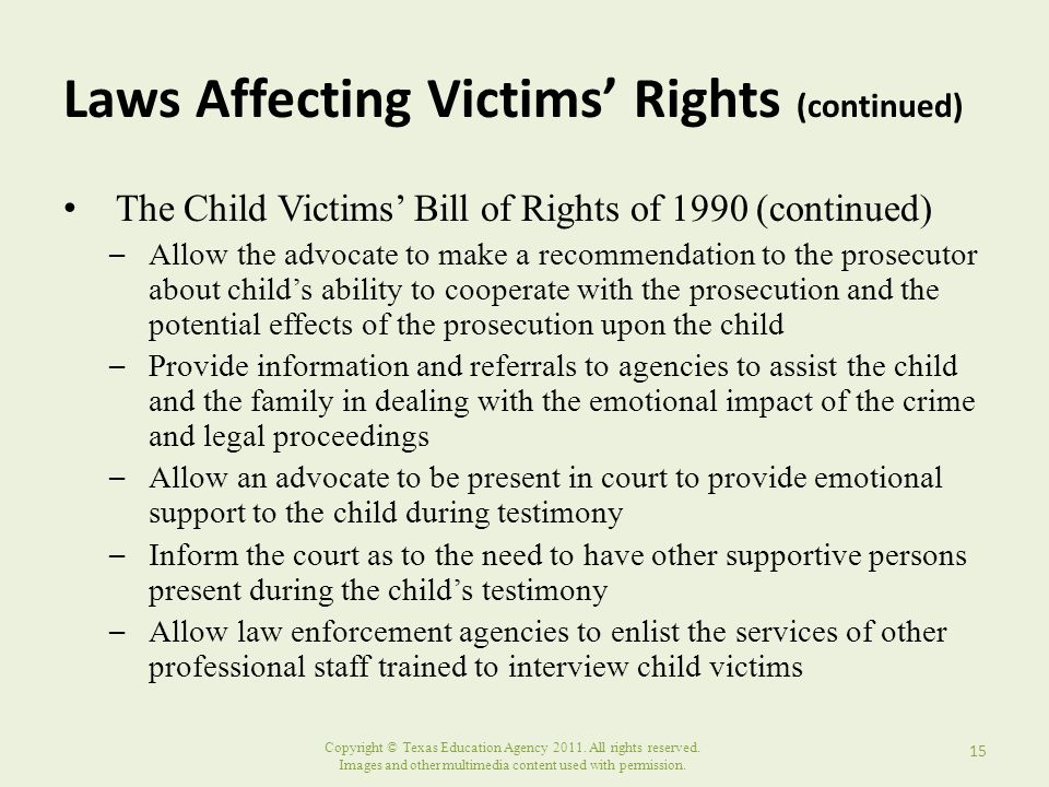 Laws Affecting Victims' Rights (continued)
