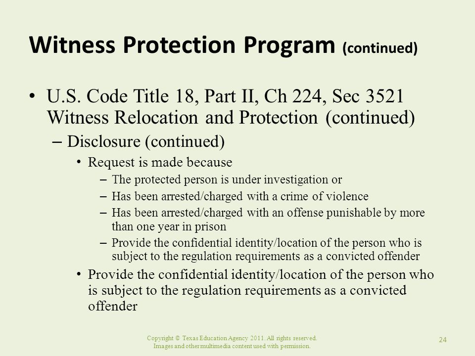Witness Protection Program (continued)