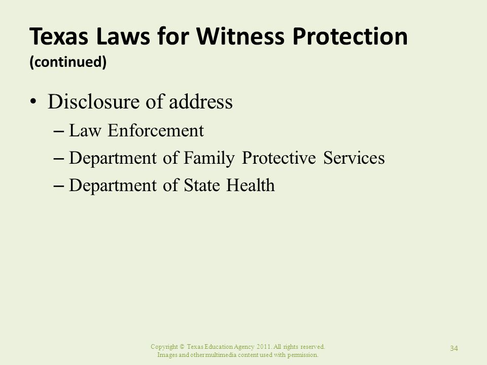 Texas Laws for Witness Protection (continued)