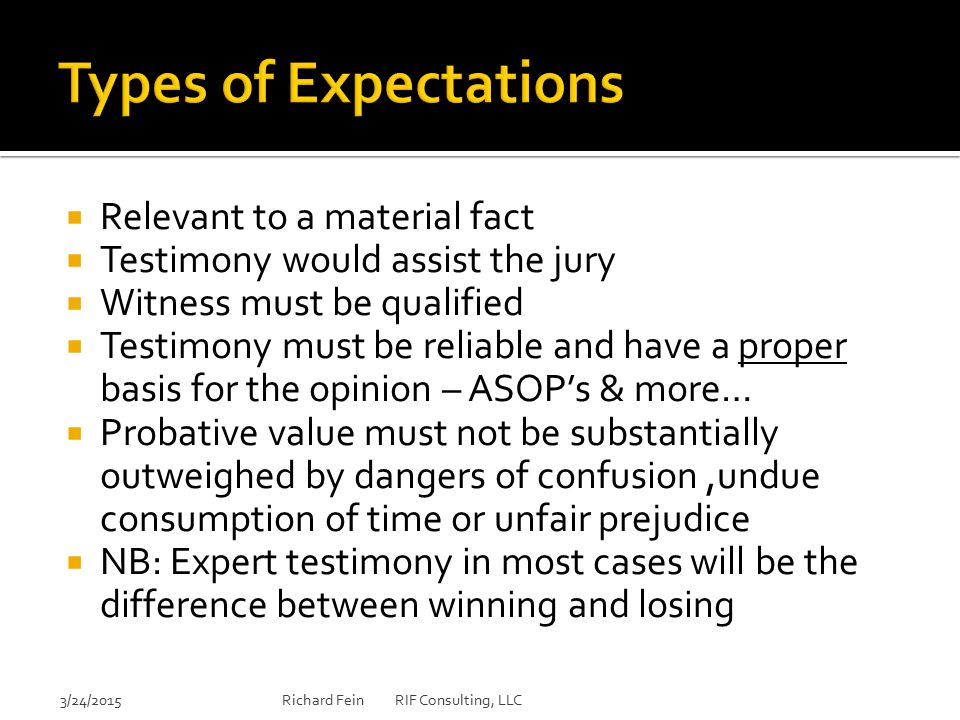 Types of Expectations Relevant to a material fact
