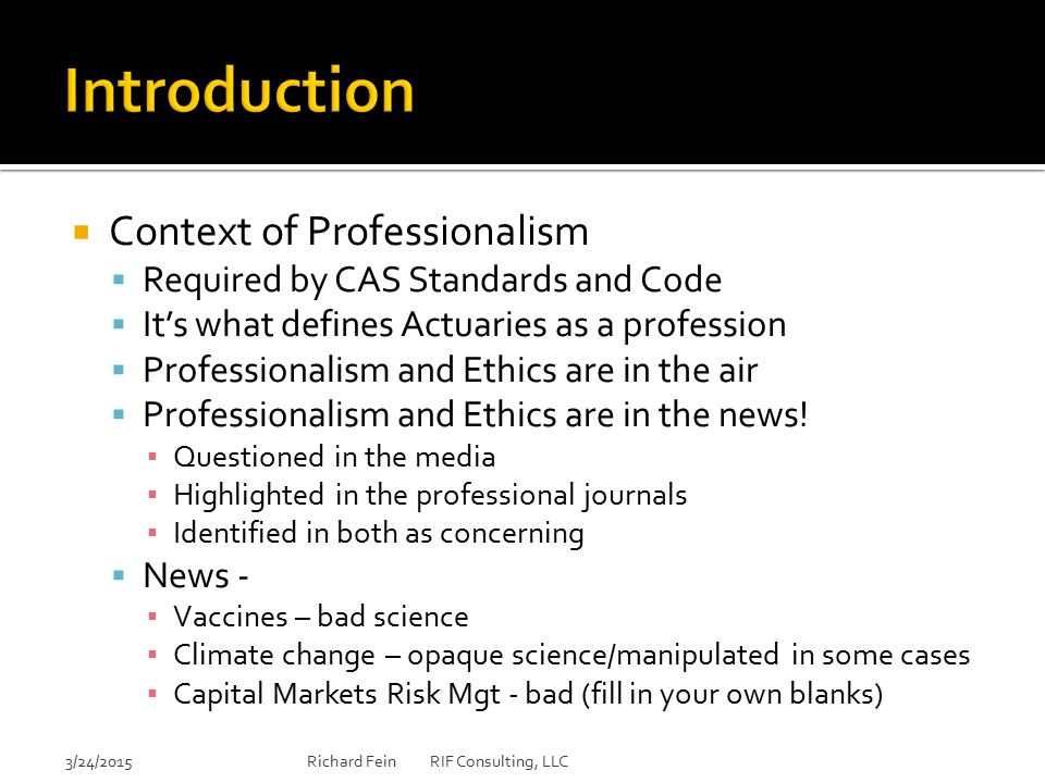 Introduction Context of Professionalism