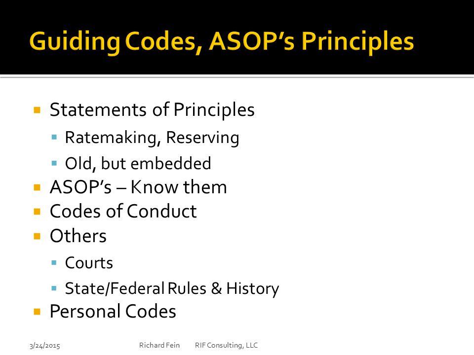 Guiding Codes, ASOP's Principles