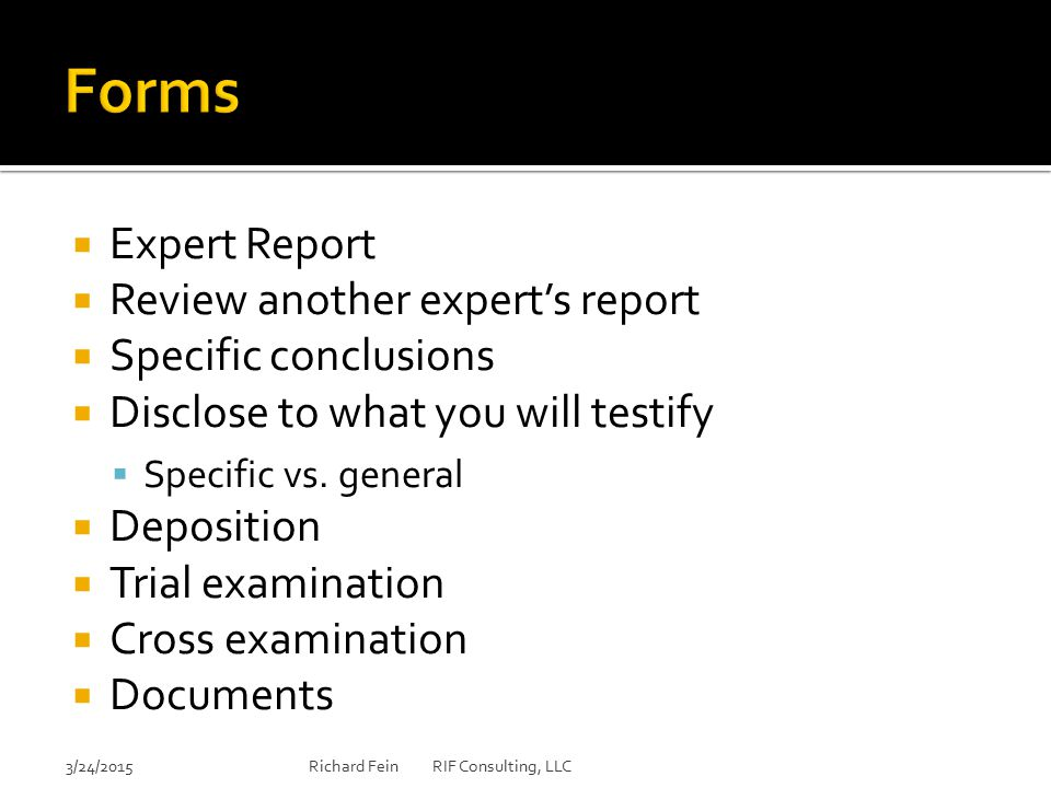 Forms Expert Report Review another expert's report