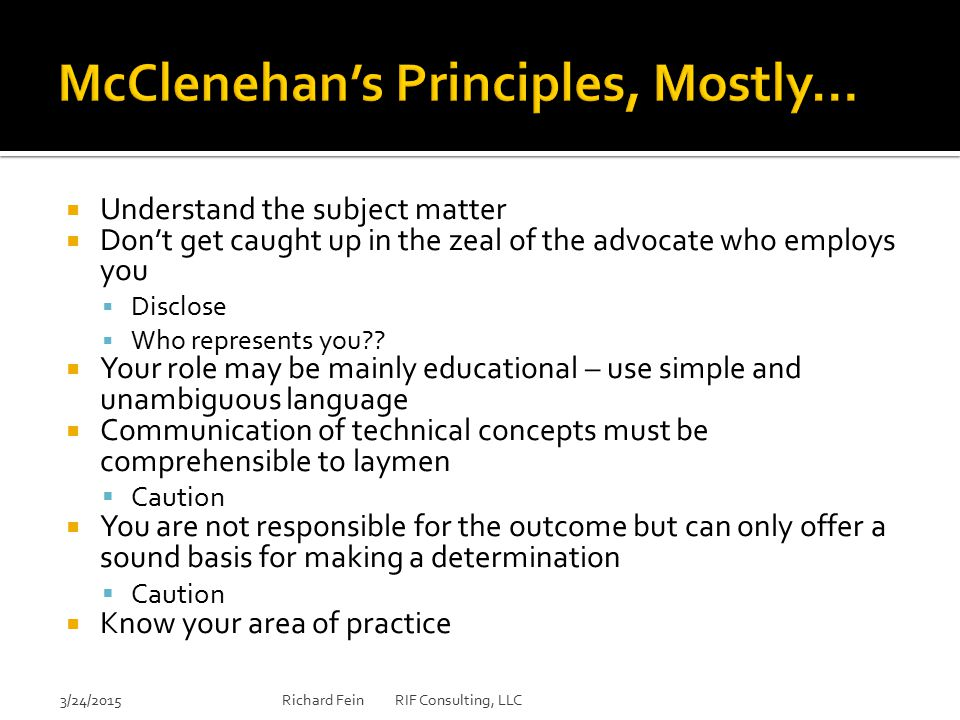 McClenehan's Principles, Mostly…