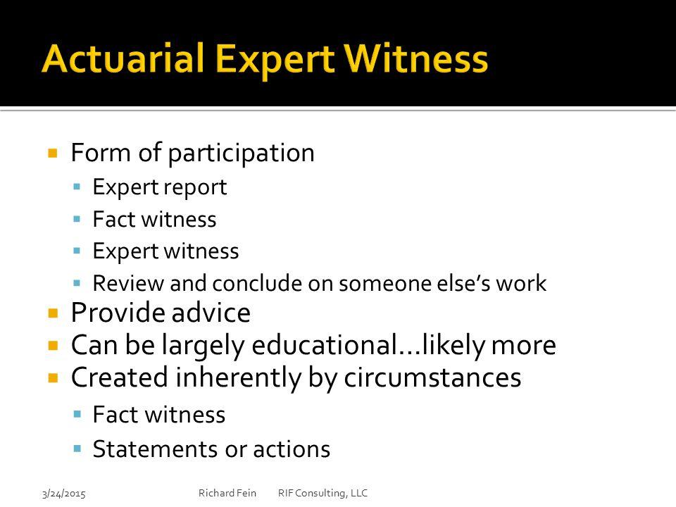 Actuarial Expert Witness