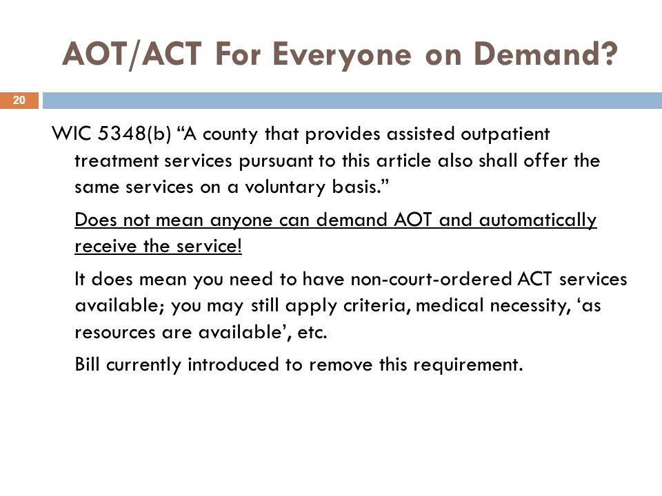 AOT/ACT For Everyone on Demand