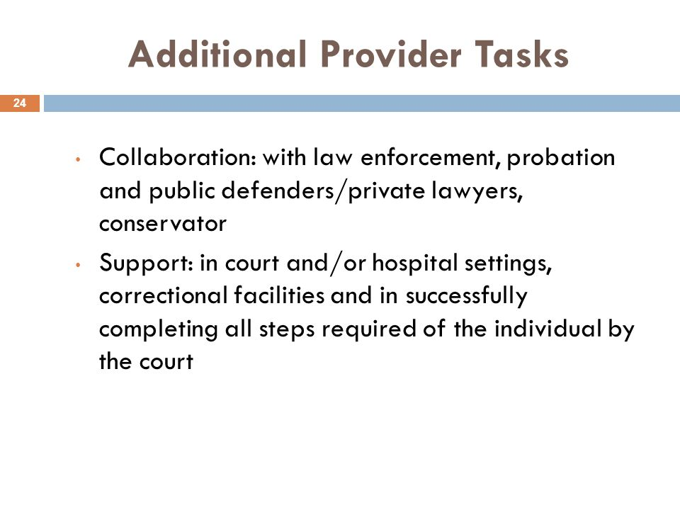 Additional Provider Tasks