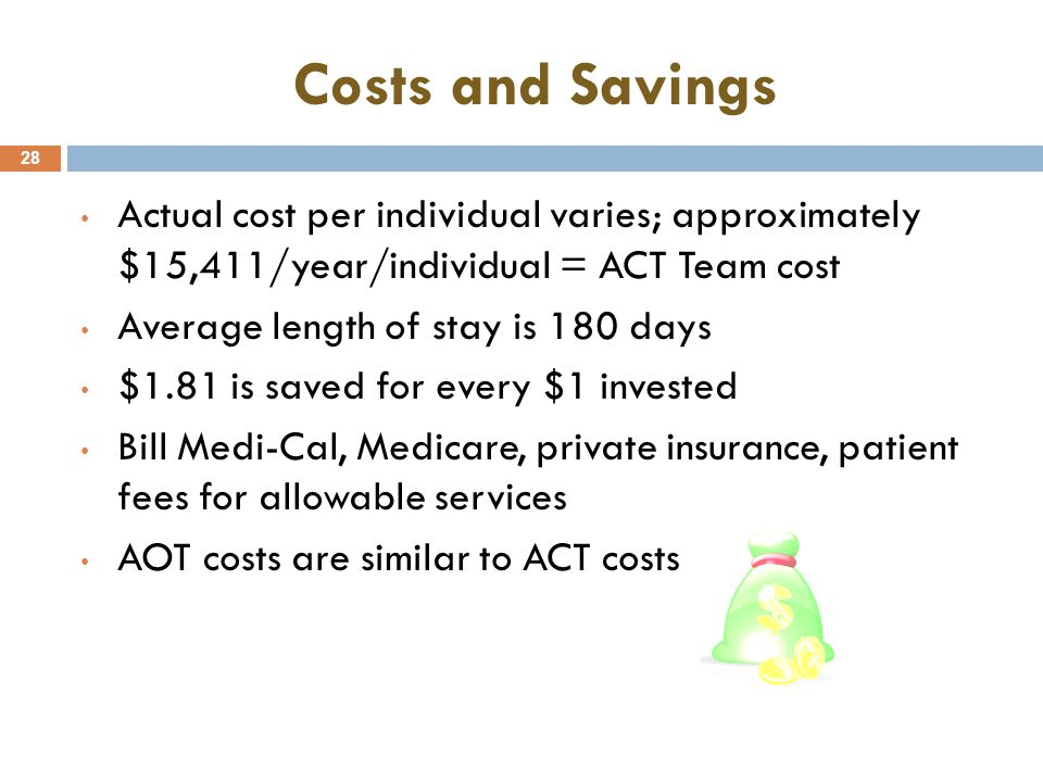 Costs and Savings Actual cost per individual varies; approximately $15,411/year/individual = ACT Team cost.