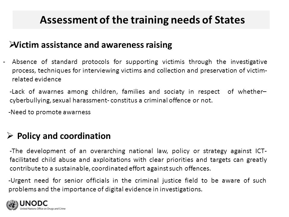 Assessment of the training needs of States