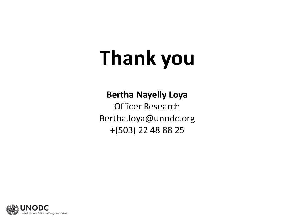 Thank you Bertha Nayelly Loya Officer Research Bertha.loya@unodc.org