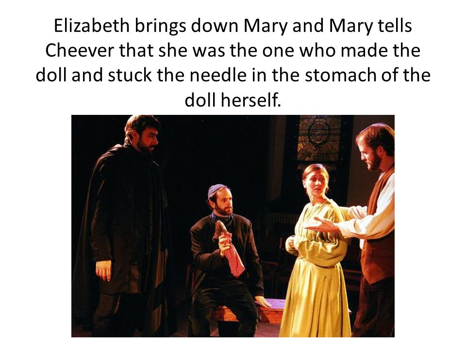 Elizabeth brings down Mary and Mary tells Cheever that she was the one who made the doll and stuck the needle in the stomach of the doll herself.