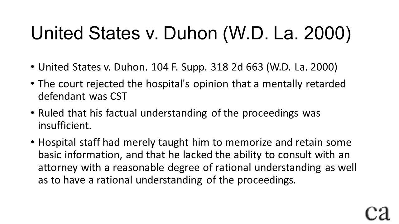 United States v. Duhon (W.D. La. 2000)