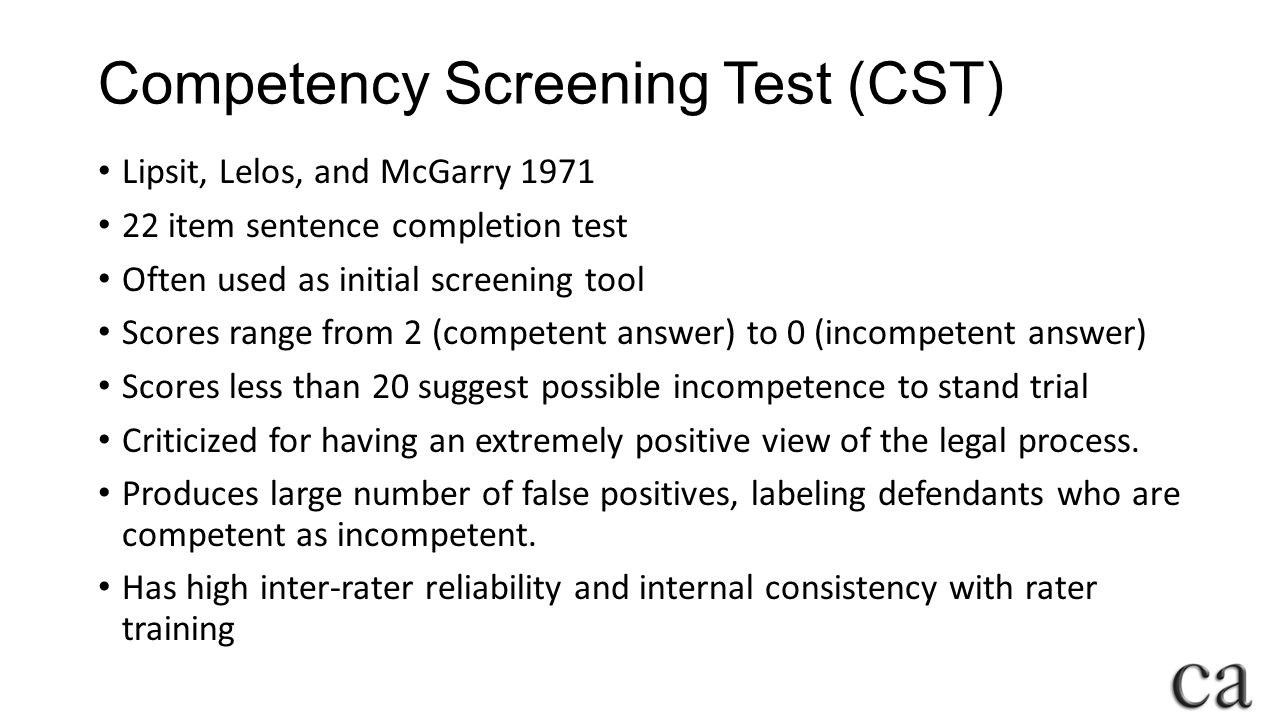 Competency Screening Test (CST)