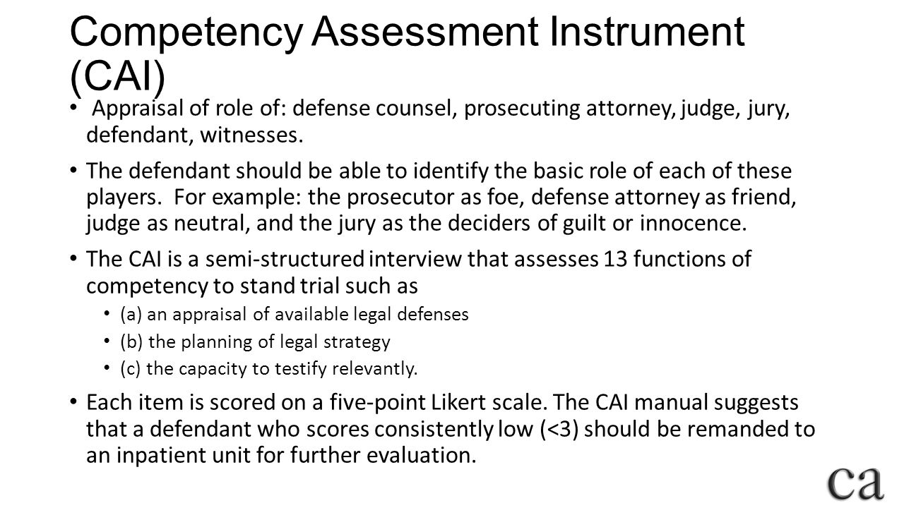 Competency Assessment Instrument (CAI)