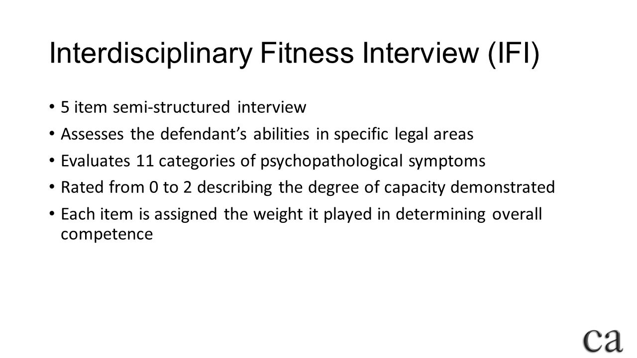 Interdisciplinary Fitness Interview (IFI)