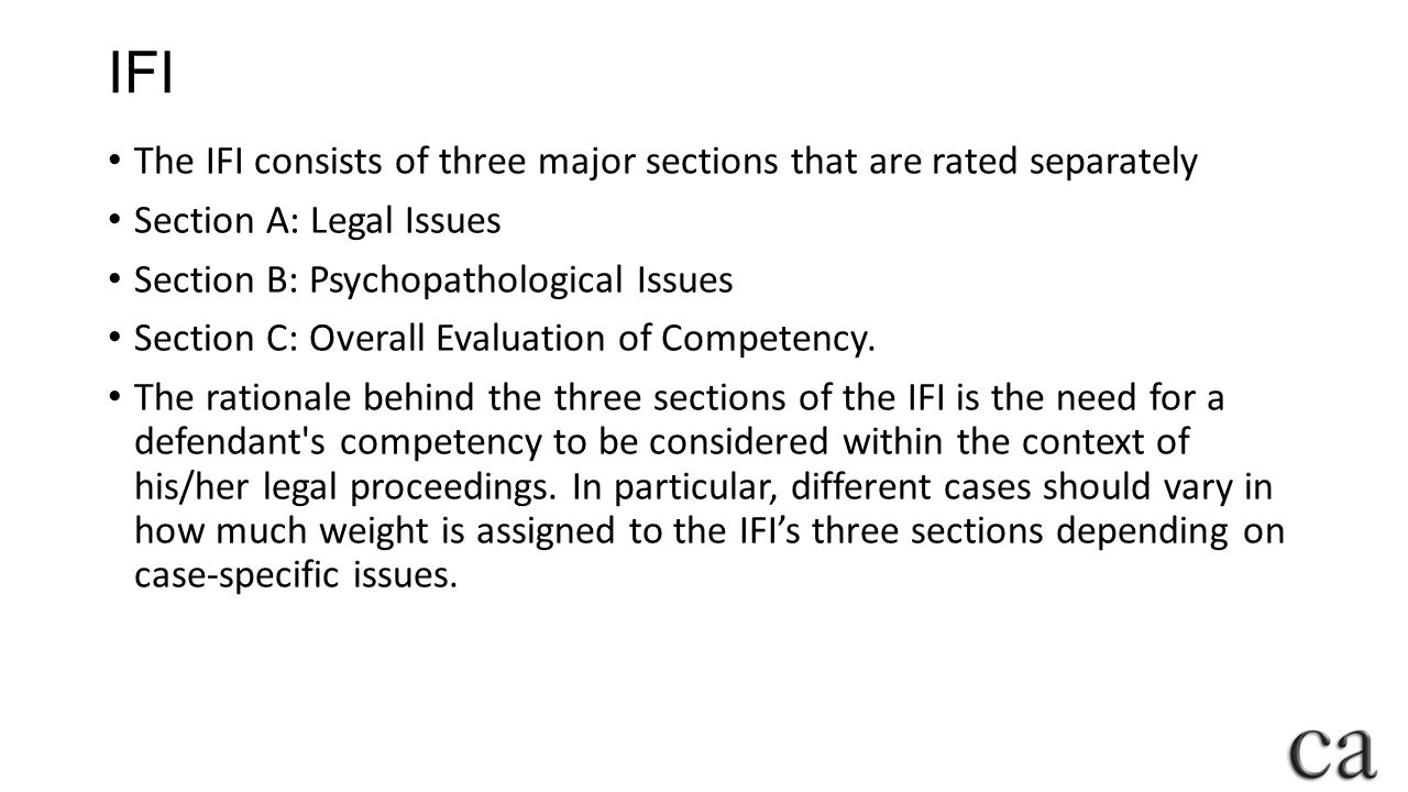 IFI The IFI consists of three major sections that are rated separately