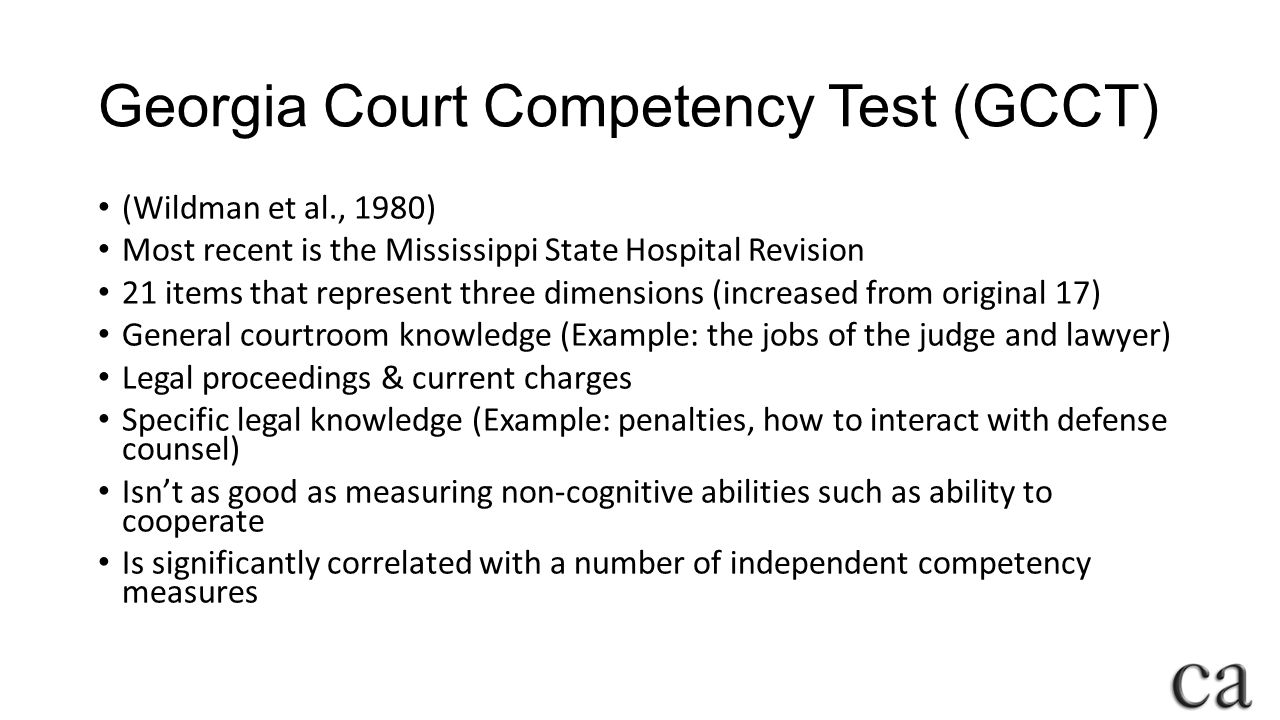 Georgia Court Competency Test (GCCT)
