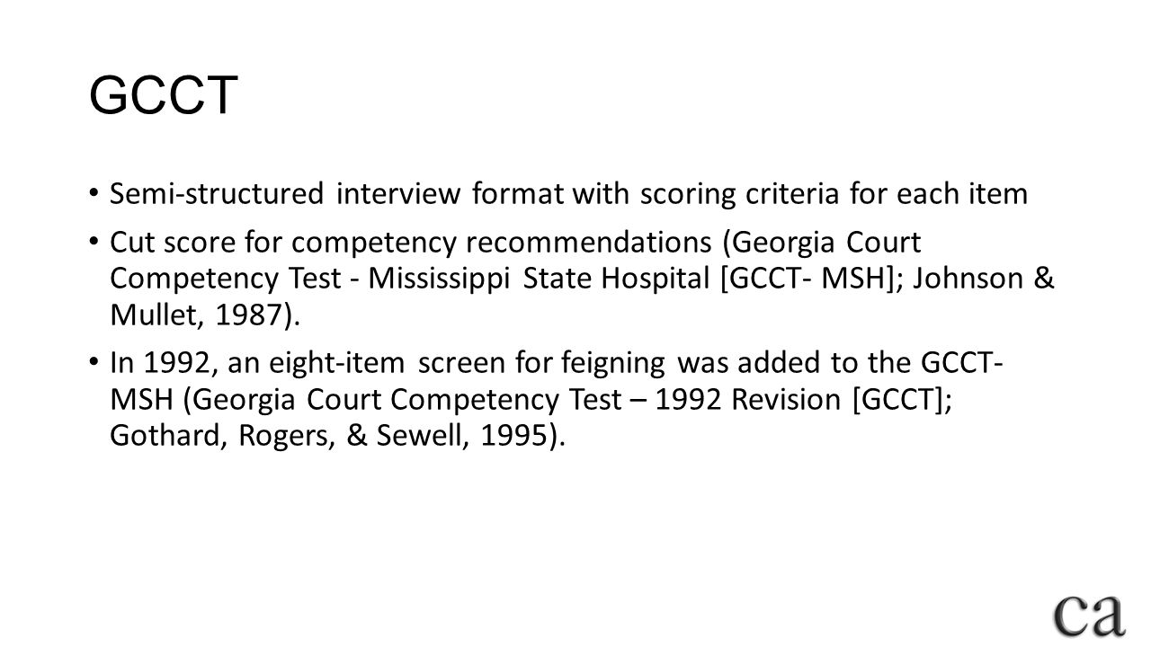 GCCT Semi-structured interview format with scoring criteria for each item.