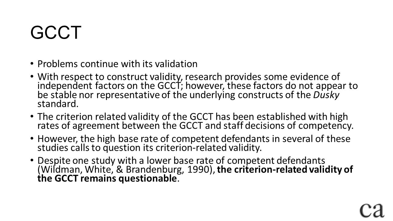 GCCT Problems continue with its validation