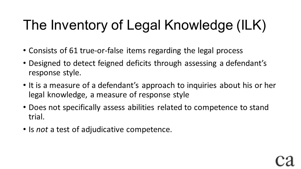The Inventory of Legal Knowledge (ILK)
