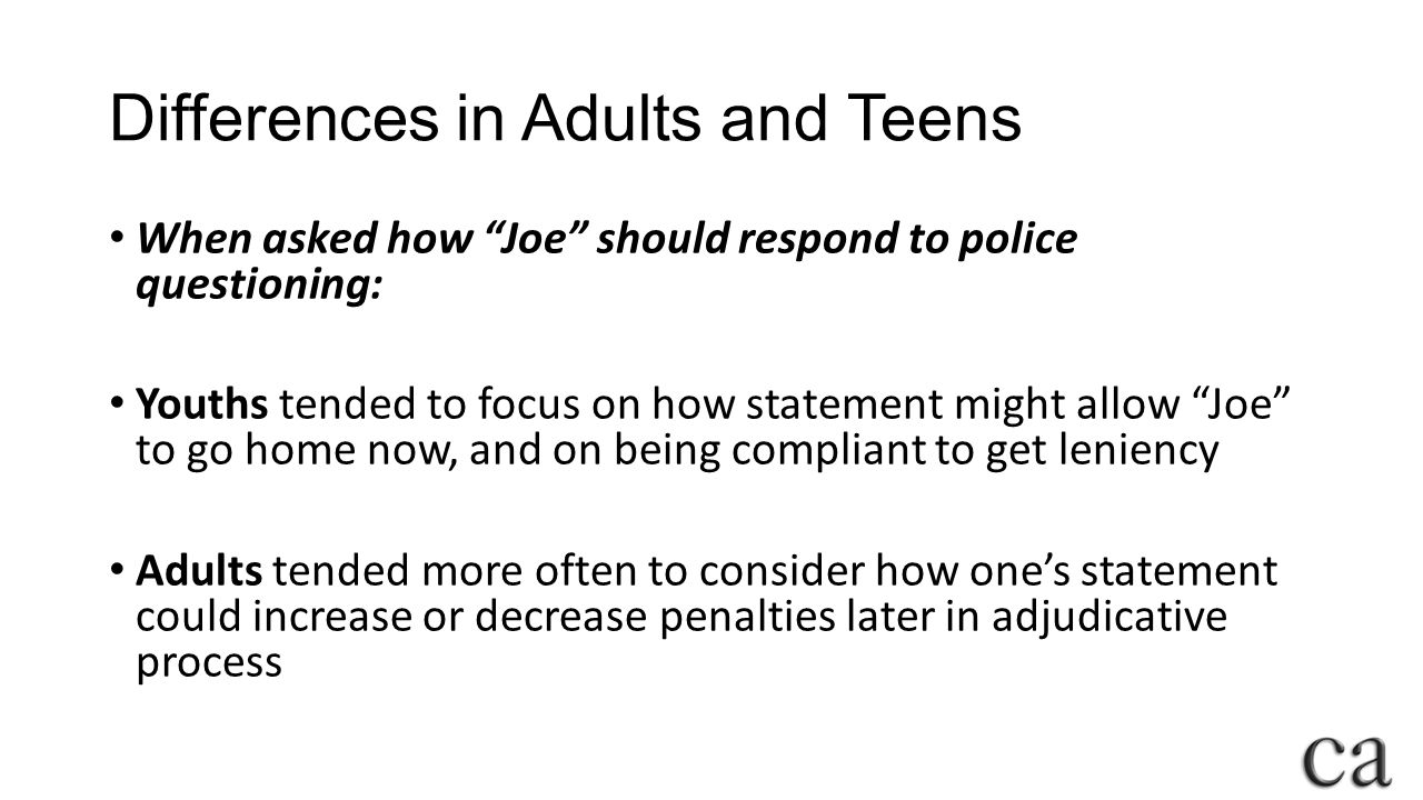 Differences in Adults and Teens