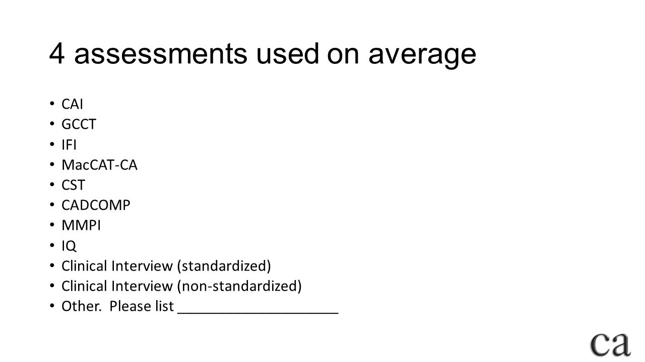 4 assessments used on average