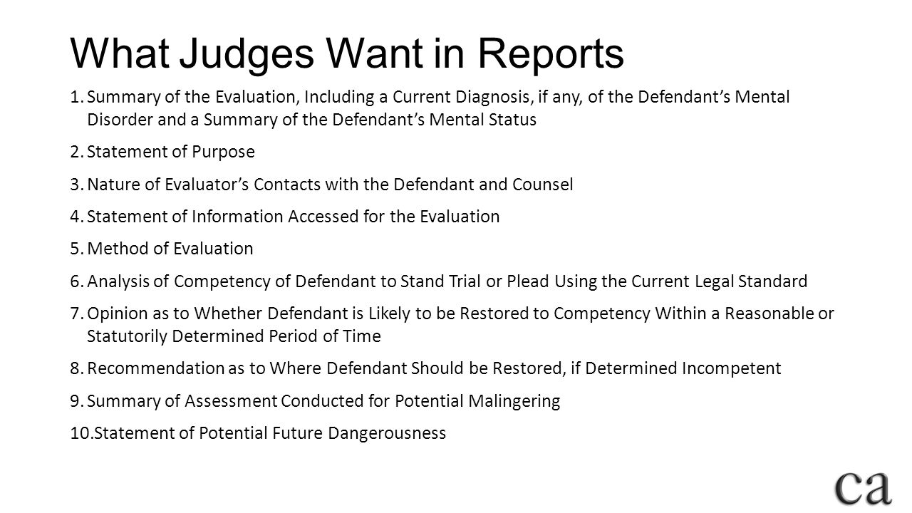 What Judges Want in Reports