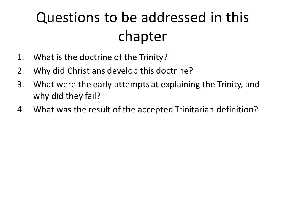 Questions to be addressed in this chapter
