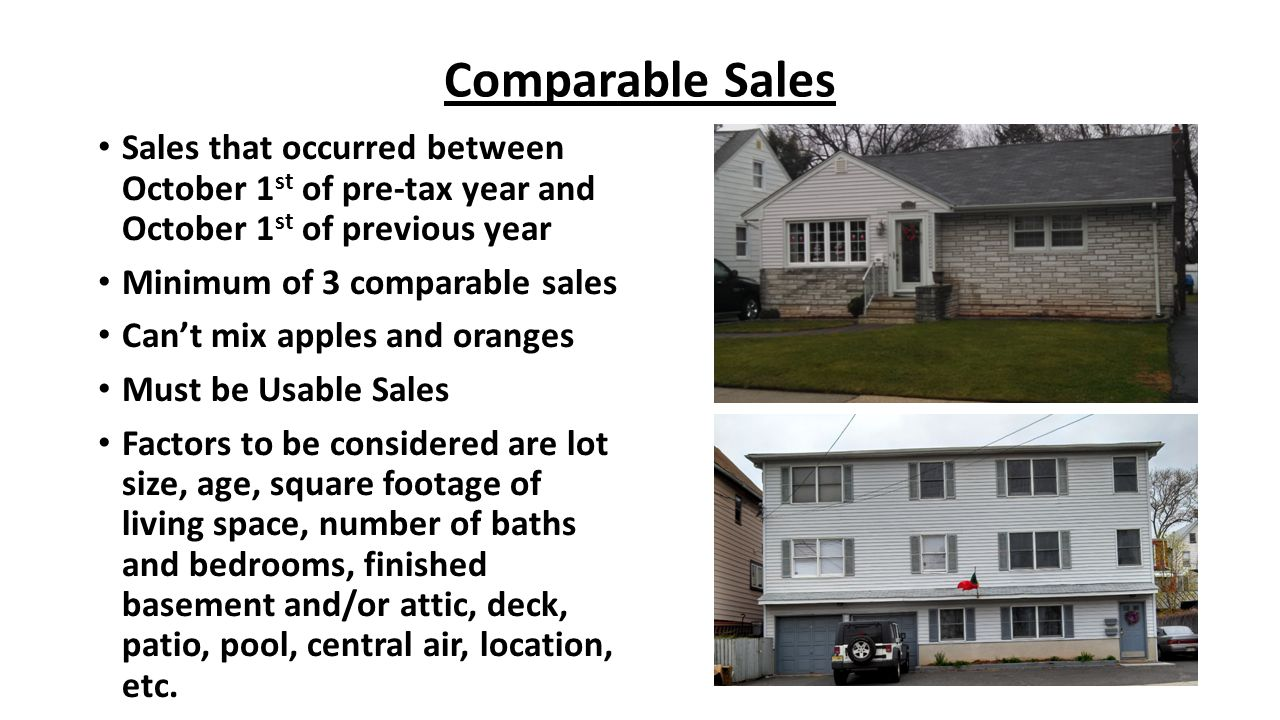 Comparable Sales Sales that occurred between October 1st of pre-tax year and October 1st of previous year.
