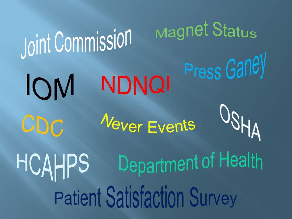 OSHA Never Events CDC HCAHPS Magnet Status IOM