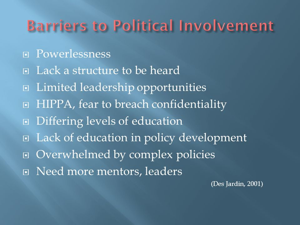 Barriers to Political Involvement