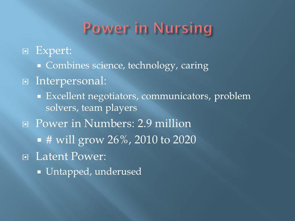 Power in Nursing Expert: Interpersonal: Power in Numbers: 2.9 million