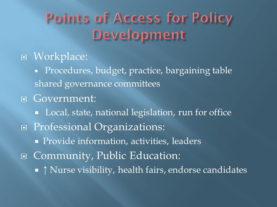 Points of Access for Policy Development